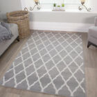 Grey Trelis Pattern Carpet Modern Rugs Soft Non Shed  Soft Small Large Rug Cheap