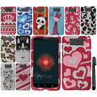 For Motorola Droid MAXX XT1080M DIAMOND BLING GEM HARD Case Cover Phone + Pen
