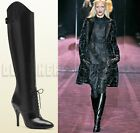 GUCCI black ELIZABETH lace-up vamp RUNWAY back-Zip High Heel boots NIB Authentic