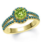1.40 Ct Round Green Peridot Blue Diamond 14K Yellow Gold Ring