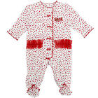 Little Me Girls Red/White Cotton Holiday Footie
