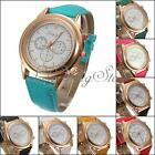 New Fashion Women Lady Girl PU Leather Band Round Dial Quartz Analog Wrist Watch