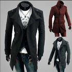 Men's Slim Fit Double Breasted Strap Trench Casual Coat Long Jacket Overcoat-SHF