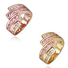 Size 8 Western Style Unsymmetric Geometry Shape Fashion Ring Clear Pink Stones