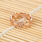 Korean Style 18K Rose Gold Plated Multi Love Heart Cocktail Ring Crystals