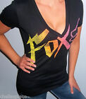 NWT Sexy FOX RACING RIDERS Black NEON PINK Yellow GRAPHIC LOGO Shirt Top TEE XL