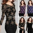 Sexy Women Lace Slim Fit Floral Print Sheer Long Sleeve Tops Blouse T Shirt