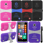 For Nokia Lumia 630 Cricket KICKSTAND HYBRID Rubber HARD Case Phone Cover + Pen