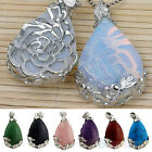 FABULOUS NATURAL QUARTZ TEARDROP FLOWER PATTERN BEAD STONE PENDANT FOR NECKLACE