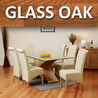 Glass Top Oak Cross Base Dining Table w/ 4 6 Leather Chairs Room Furniture 160cm