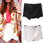 US Stock Women Wrap Mini Skirt Asymmetrical Career Tiered Culotte Fashion Skort