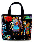 Day of the Dead SKELETONS PURSE w/ Red Rose - rockabilly psychobilly tattoo