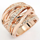Swarovski Crystal rose Gold GP Finger Wide Band Stripe cross Cocktail Ring a347