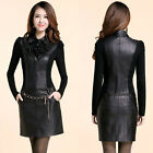 Elegant Womens Long Sleeve Faux Leather Patchwork Bodycon Mini Dress with Belt