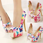 Womens High Heels Platform Pumps Pattern Printed Peep Toe Sexy Stilettos Shoes