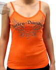 Harley-Davidson Ladies Studded Orange Spaghetti Strap Tank Top w/ Shelf Bra