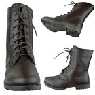 Women's Faux Leather Lace Up Motorcycle Zip Close Combat Ankle Boots Brown