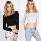 Autumn Spring Womens Crop Tops Ladies Long Sleeve Stretch T-Shirt Tee Sizes M/L