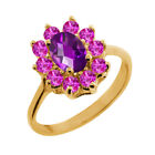 1.25 Ct Oval Checkerboard Purple Amethyst Pink Sapphire 18K Yellow Gold Ring