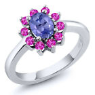 1.25 Ct Oval Blue Tanzanite Pink Sapphire 925 Sterling Silver Ring