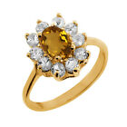 1.00 Ct Oval Natural Champagne Quartz 18K Yellow Gold Ring