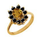 1.03 Ct Oval Champagne Quartz Black Diamond 18K Yellow Gold Ring
