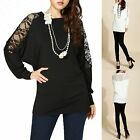 Retro Sexy Stretchy Lace Floral Bat Long Sleeves Top Blouse
