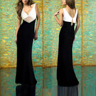NEW Sz Designer V Neck Pencil Bridesmaid Prom Maxi Off White & Black-White Dress
