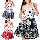 NEW Strapless Bustier Babydoll Lace Prom Bridesmaid Floral Black Dress