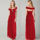 Womens Bridesmaid Evening Wedding Party Cocktail Wrap Shoulder Prom Long Dress