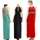 Donna Bella Womens Lace Hollow Elegant Sleeveless Sexy Long Evening Party Dress