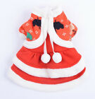 Thick Soft Small Dog Puppy Pet Clothes Apparel Red Christmas Prinecss Dress Coat