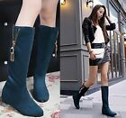 Winter Fashion Women Side Zip Mary Janes Hedden Wedge Knee-high Knight Boots