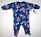Nwt New York Giants NY Logo Blanket Sleeper Pajamas NFL Football Blue Cute Boy