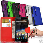 Vodafone Smart 4 PU Leather Phone Book Wallet Case Skin Cover+Pen+SP