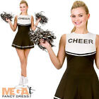Black & White Cheerleader Ladies Sports Fancy Dress Womens Uniform Adult Costume
