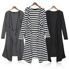 Lady Lightweight Solid Long Sleeve Open Coat Jacket Cardigan Maxi Shirt Dress B2