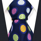S5 Dots Blue Multicolor Mens Necktie Tie 100% Silk Polka Dot Classic Fashion
