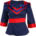 Küstenluder Sailor MATROSEN Vintage BOW Bluse - Navyblue/Red Rockabilly