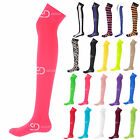 Ladies Over The Knee Thigh High Womens Plain Stripe Printed Stretch Girls Socks