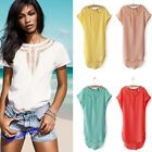Women's Summer Short Sleeve Hollow Out Chiffon Shirt Tops Blouse Casual T-shirt