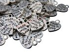 13mm Tibetan Silver Made With Love Heart Charms Silver Colour Pendant Craft ML