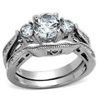 Stainless Steel  Women's 1.55Ct AAA Cz Engagement Bridal Wedding Band Ring Set