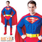 Deluxe Superman Mens Fancy Dress Muscle Chest Superhero Adults Costume Outfit