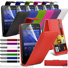 Samsung Galaxy Young 2 Premium Leather Top Flip Case Skin Cover Screen Protector