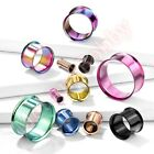 Titanium Anodized Double Flare Ear Tunnel Body Jewellery CHOOSE SINGLE OR PAIR