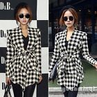Autumn Women Houndstooth Print Knit Tunic Casual Peplum Cardigan Jacket Coat Top