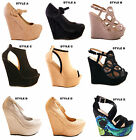LADIES WOMENS WEDGES HIGH HEELS PLATFORMS PARTY GOING OUT FASHION SHOES SIZE
