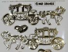Sheet 6 Gold Horse Carriage Wedding 5 Ring Stickers Invitation Scrapbook 547-18