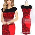 Vintage Women Lady Celeb Floral Office Formal Evening Party Cocktail Midi Dress